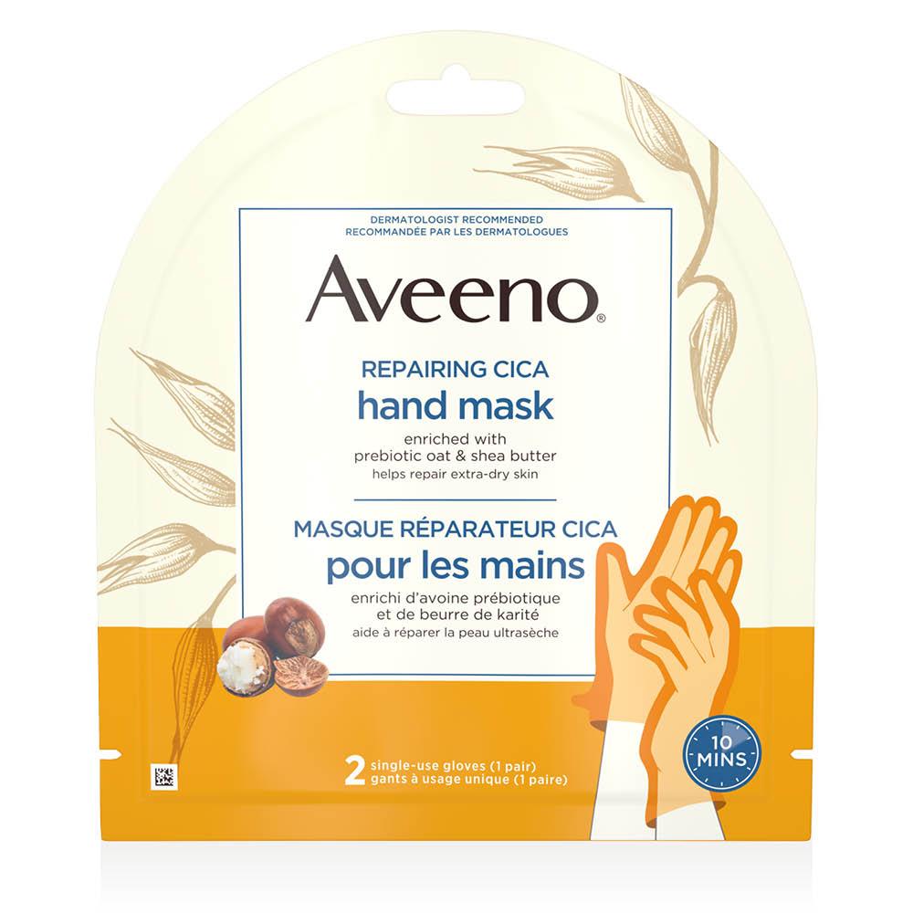 aveeno repairing cica hand mask package