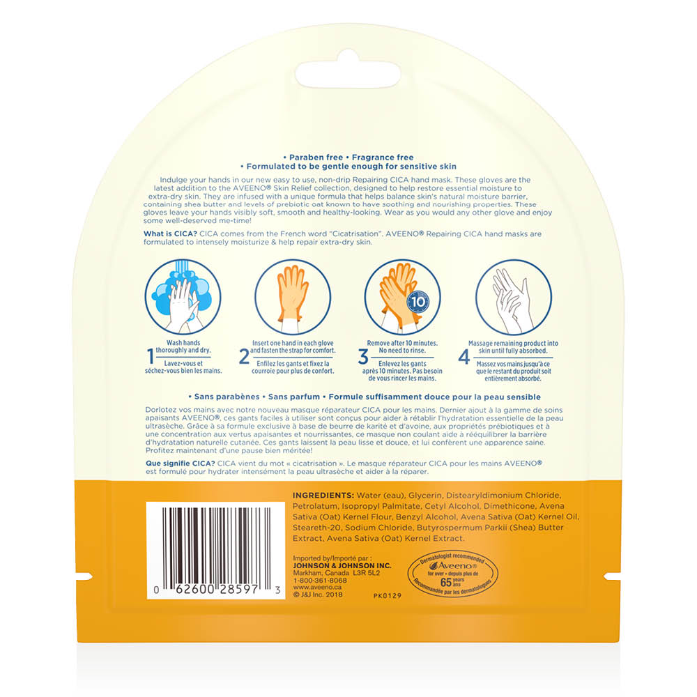 aveeno repairing cica hand mask back of package