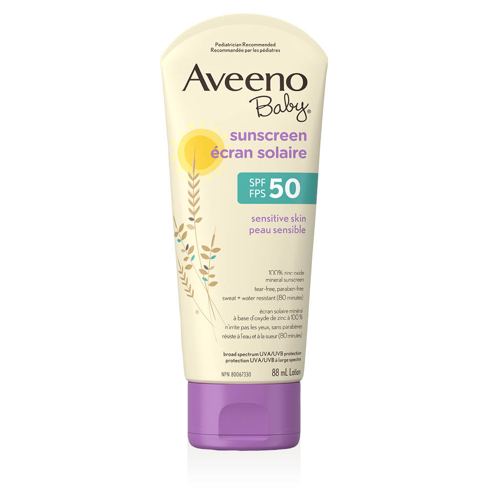 aveeno baby sensitive skin spf 50 sunscreen tube