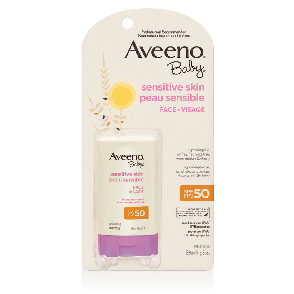 aveeno baby sensitive skin spf 50 sunscreen stick package