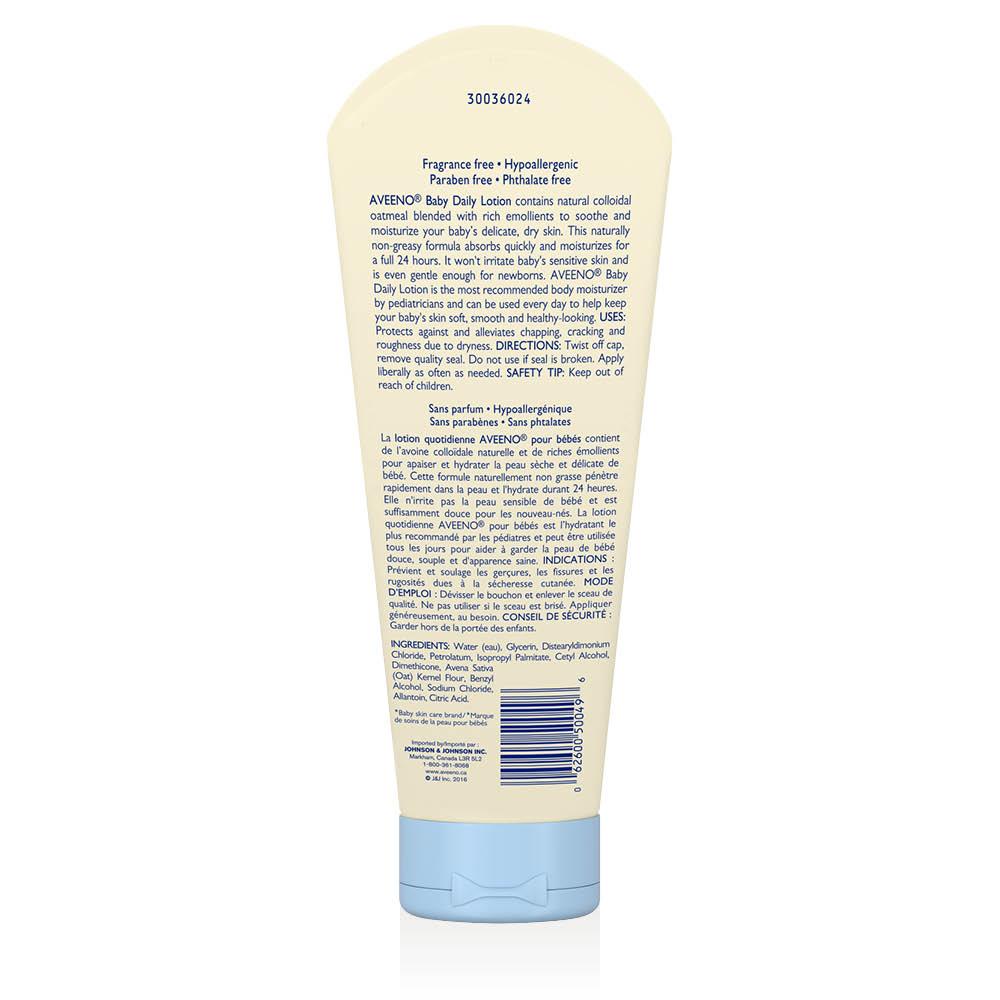 Arrière du flacon de 227 ml de la lotion quotidienne non parfumée Aveeno