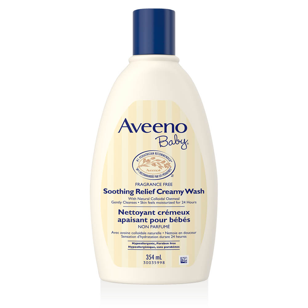 aveeno soothing relief creamy wash bottle