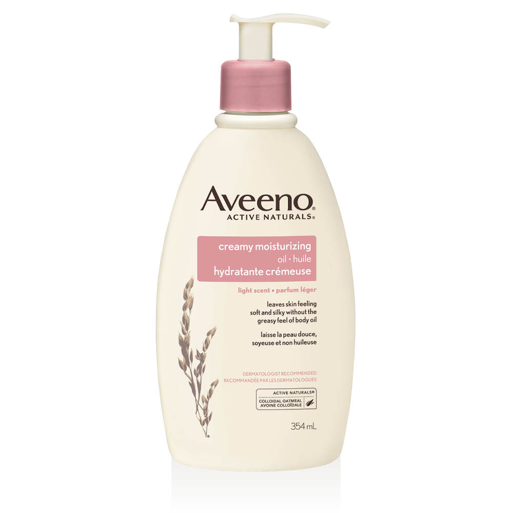aveeno creamy moisturizing body oil pump