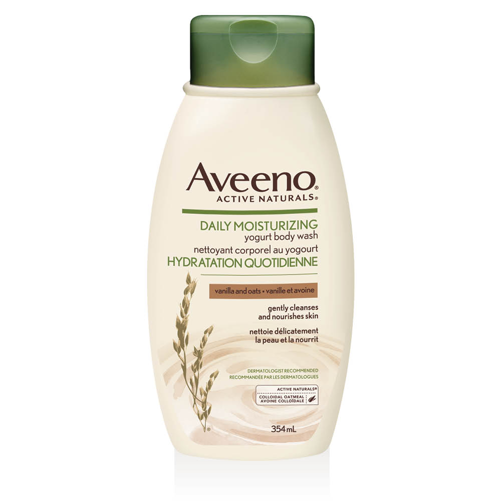 aveeno vanilla and oats body wash bottle