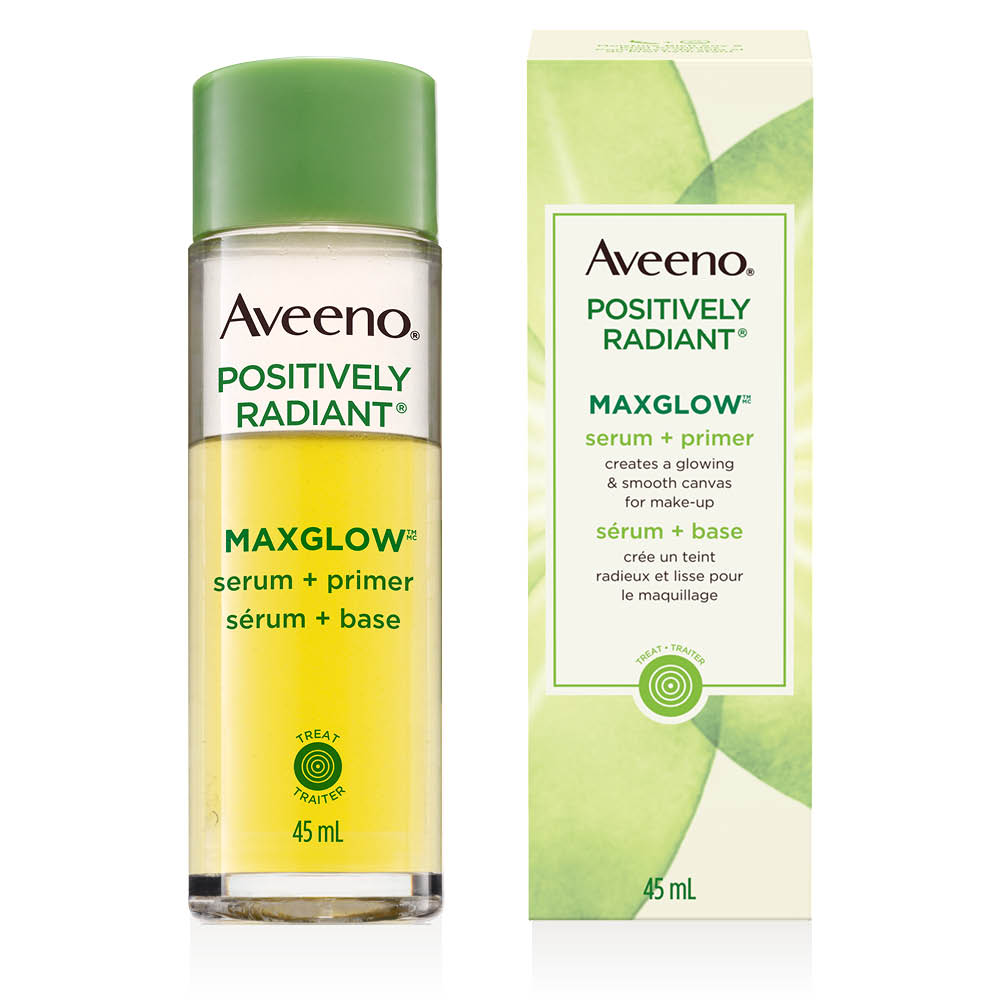 aveeno maxglow serum face primer bottle and box