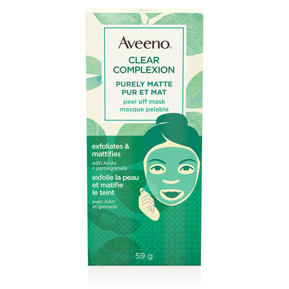 Boîte du masque pelable pour le visage Aveeno Pur et mat