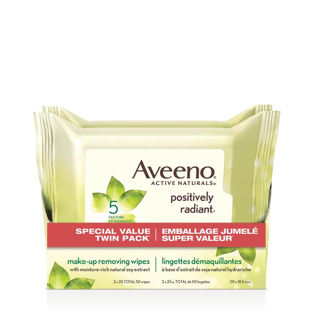 Emballage jumelé des lingettes démaquillantes Aveeno positively radiant