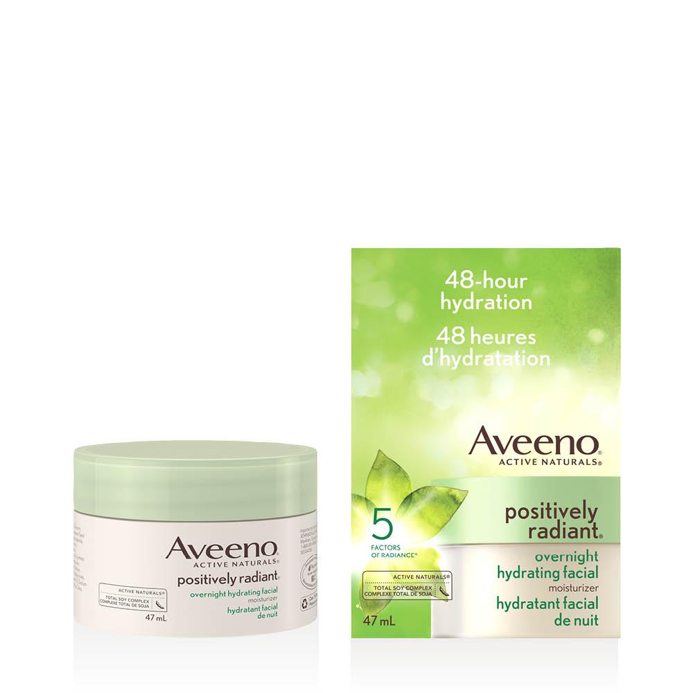 Pot et boîte de l'hydratant facial de nuit Aveeno positively radiant