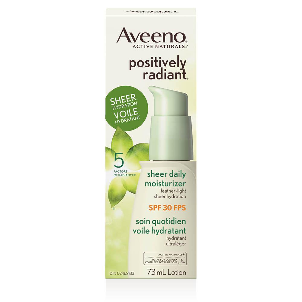 Boîte du voile hydratant pour le visage Aveeno positively radiant fps 30