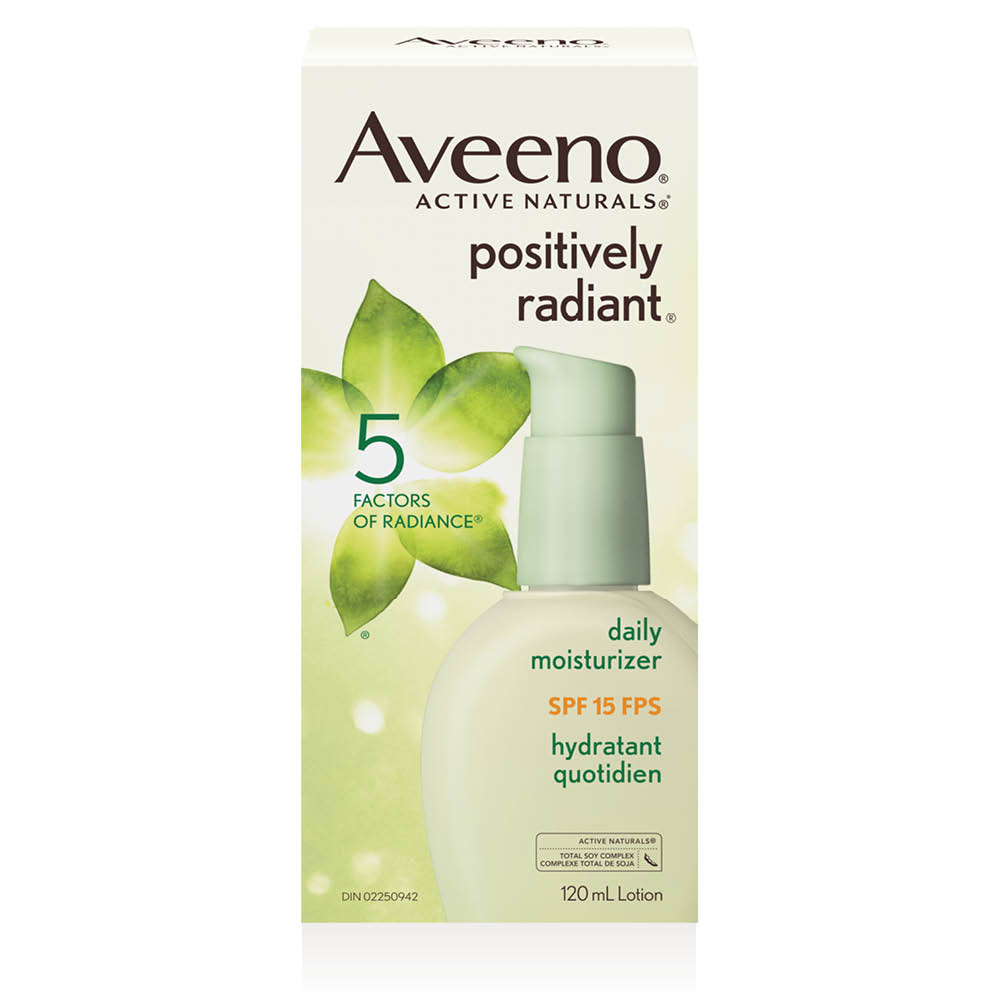 aveeno positively radiant spf 15 face moisturizer box