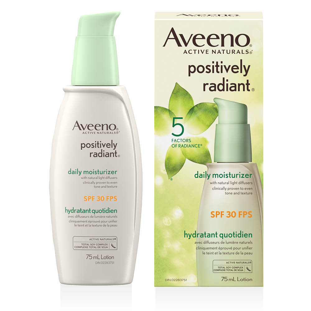 aveeno positively radiant spf 30 face moisturizer pump and box