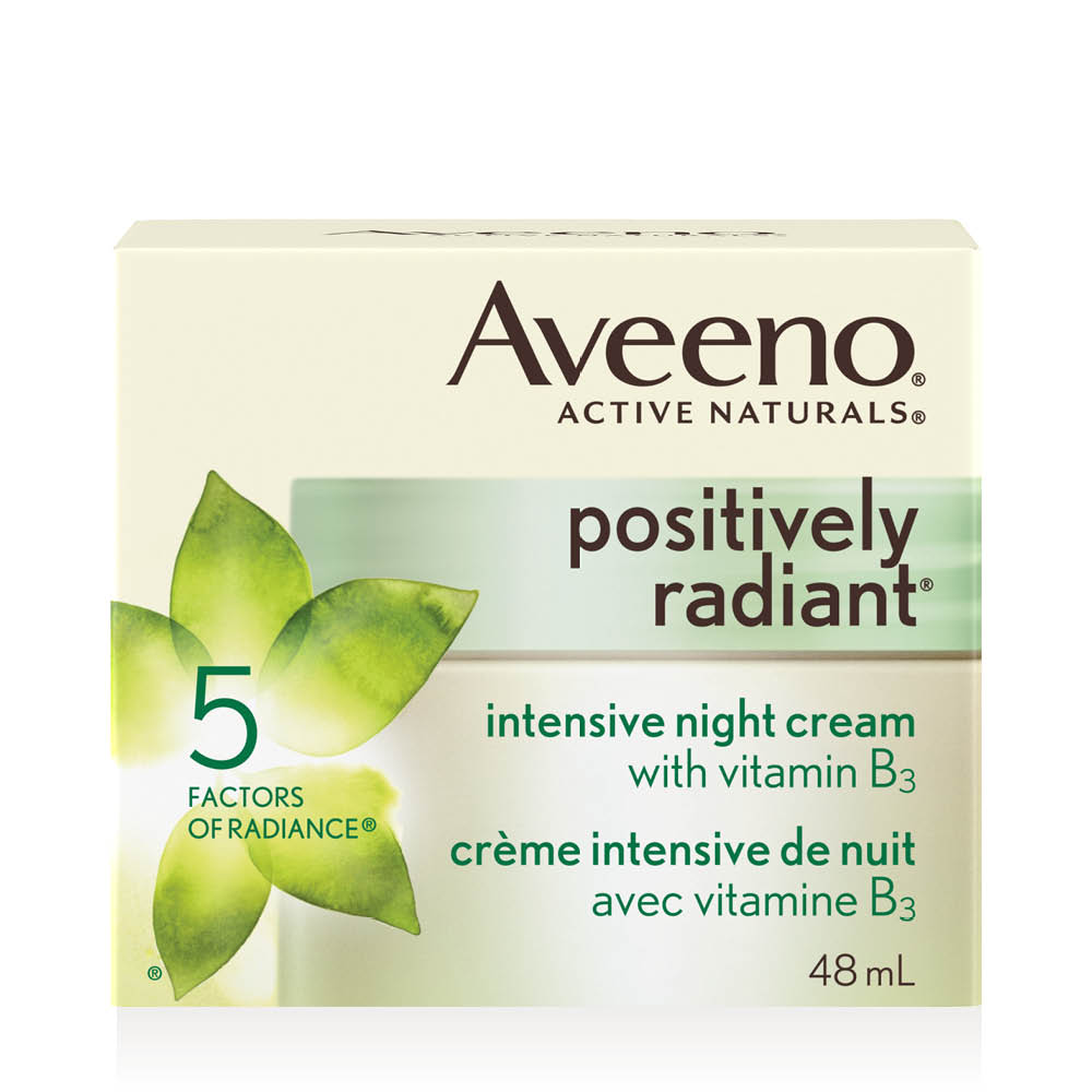 aveeno positively radiant night face cream box