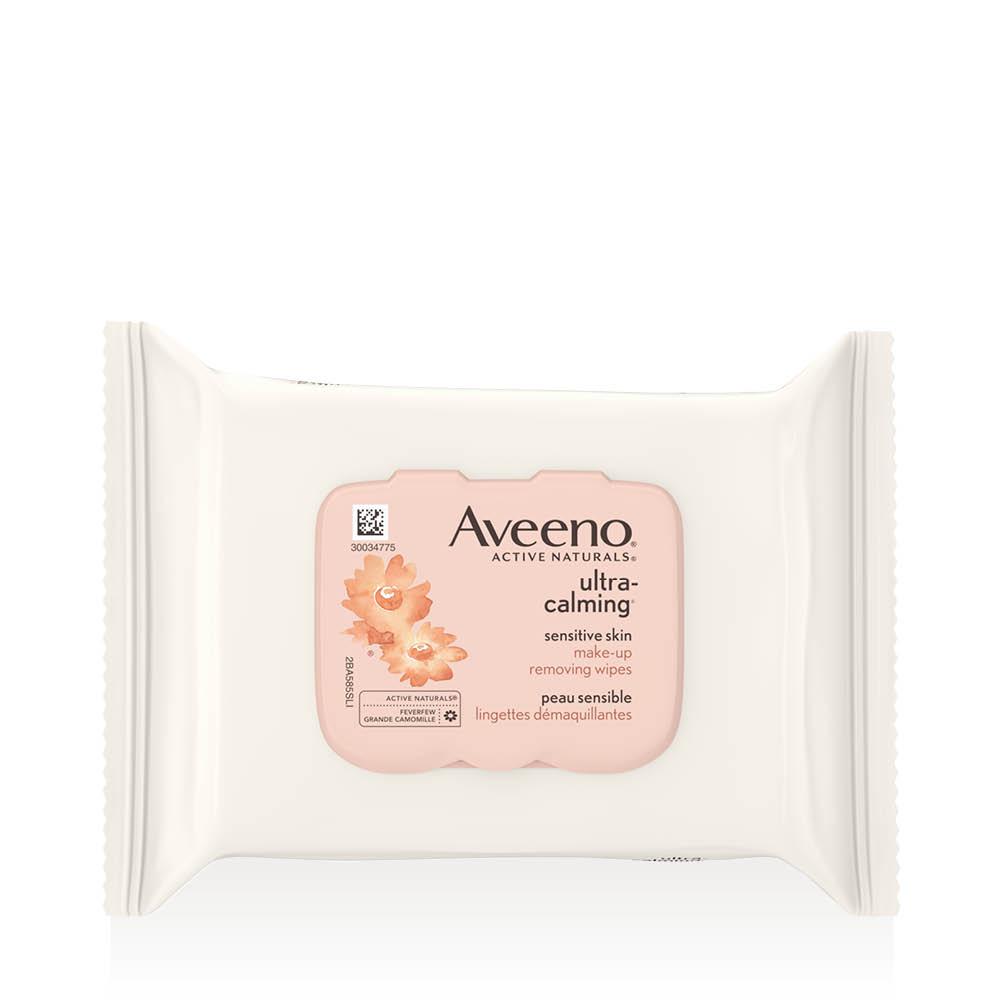 Emballage des lingettes démaquillantes Aveeno ultra calming