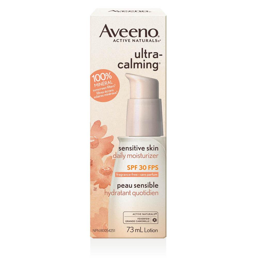 Boîte de l'hydratant quotidien pour le visage Aveeno ultra calming fps 30