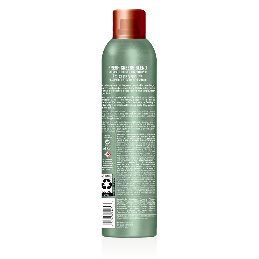 aveeno fresh greens dry hair shampoo bottle