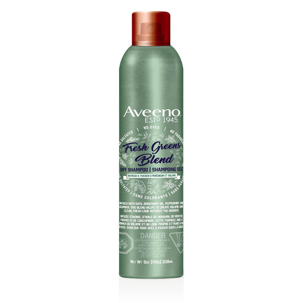 aveeno fresh greens dry shampoo bottle
