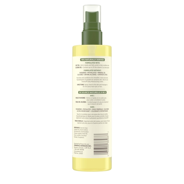 Back of Aveeno Daily Moisturizing Oil Mist Spray Bottle with Ingredient Label, 200ml