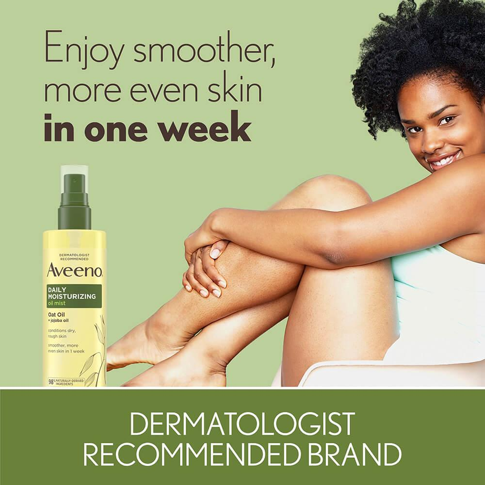 Woman Smiling from Using Aveeno Daily Moisturizing Oil Mist