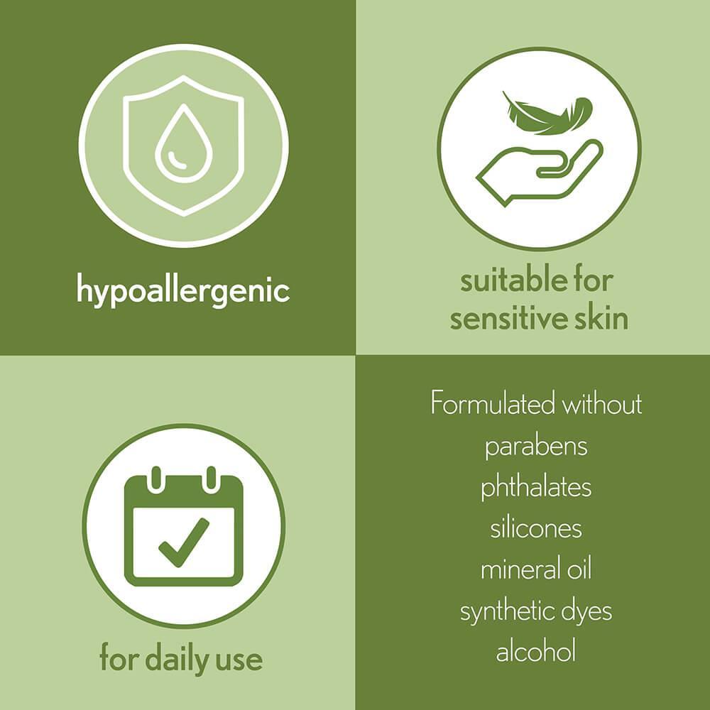 4 Column Infographic Detailing Benefits of Aveeno Daily Moisturizing Oil Mist