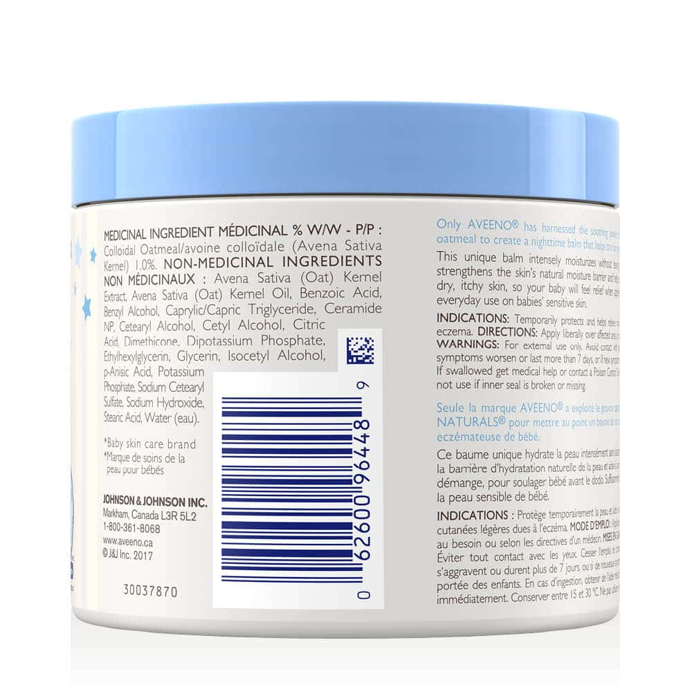 aveeno eczema care night baby balm back of tub ingredients