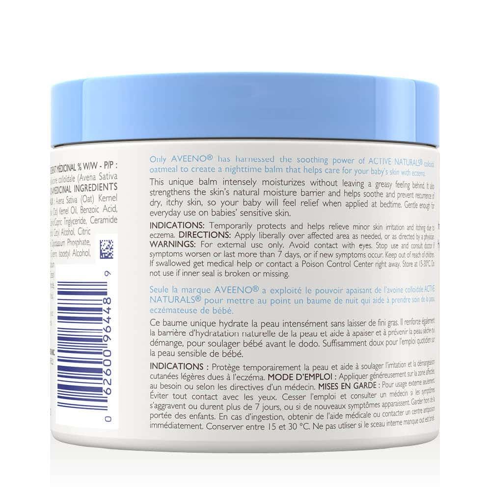 aveeno eczema care night baby balm back of tub