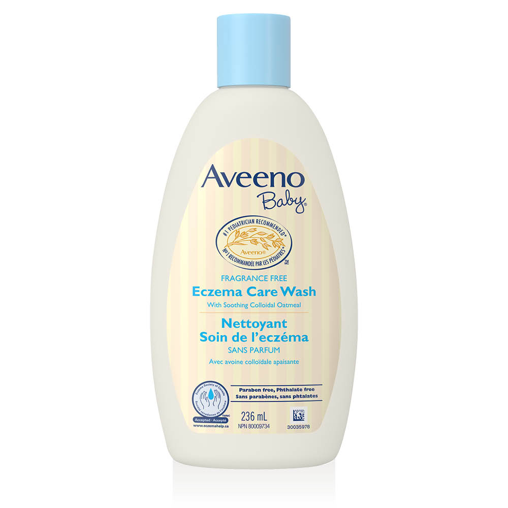 aveeno fragrance free baby eczema wash bottle
