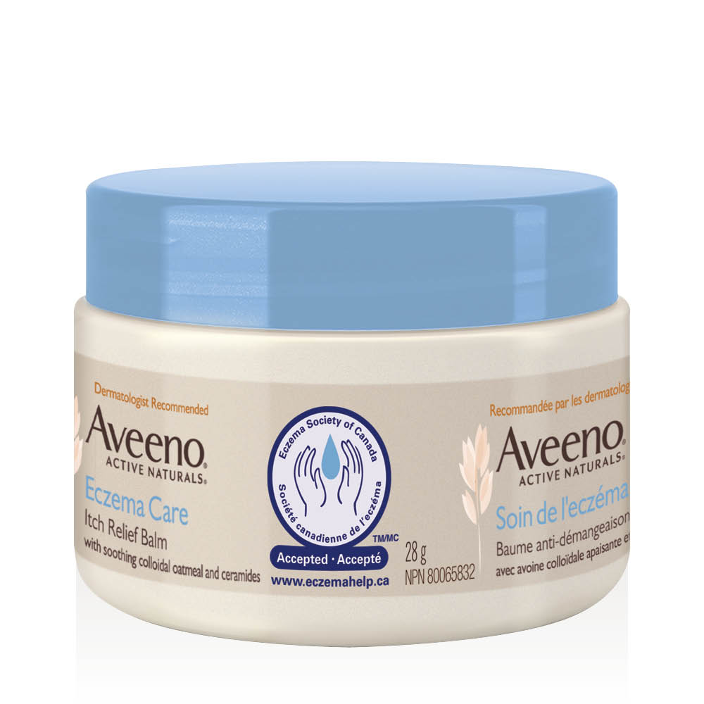 aveeno eczema care body balm side view of tub