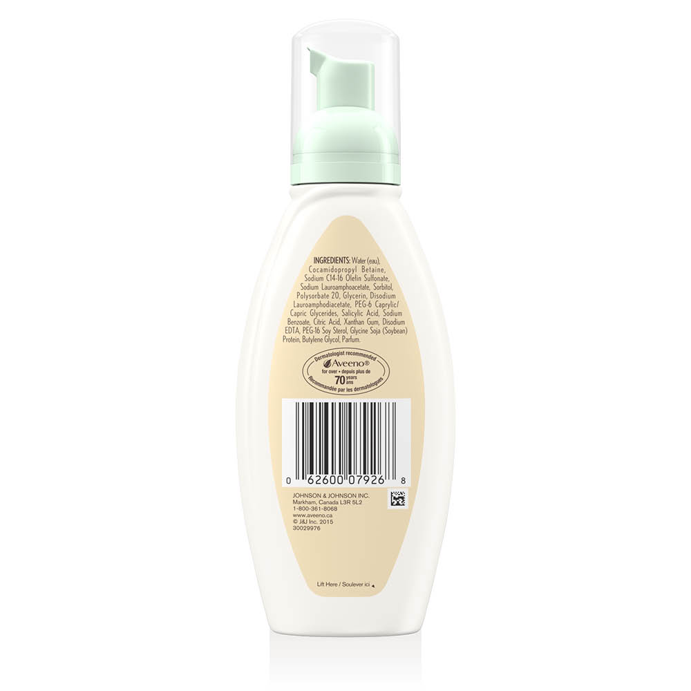 aveeno clear complexion face foam cleanser back of pump
