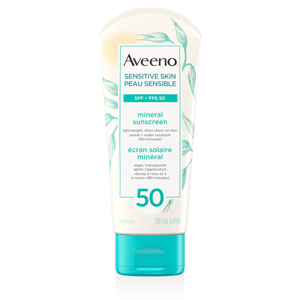 aveeno sensitive skin spf 50 sunscreen tube