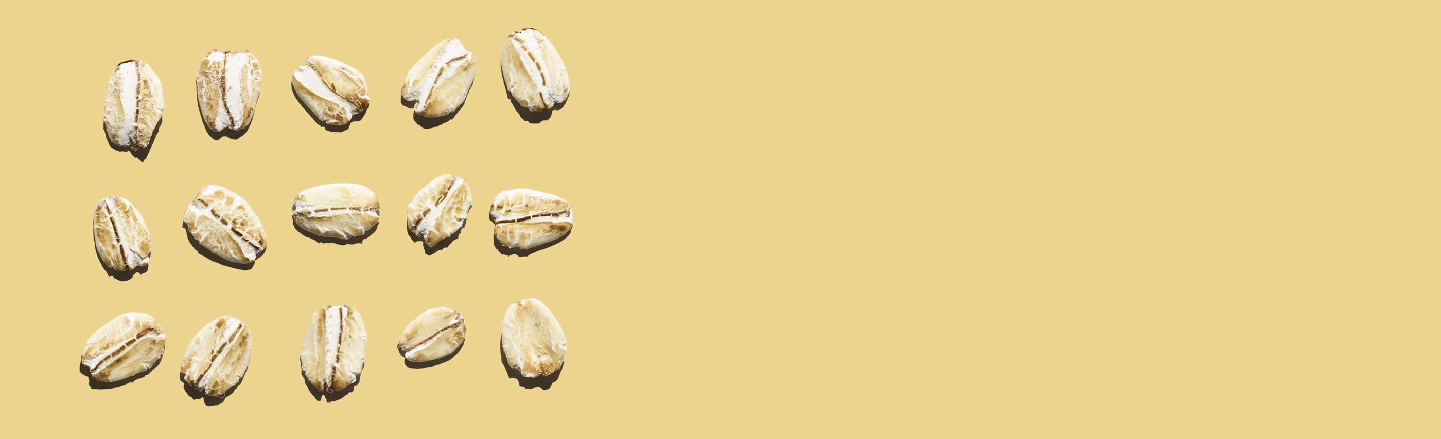 oat kernels grid against a yellow background