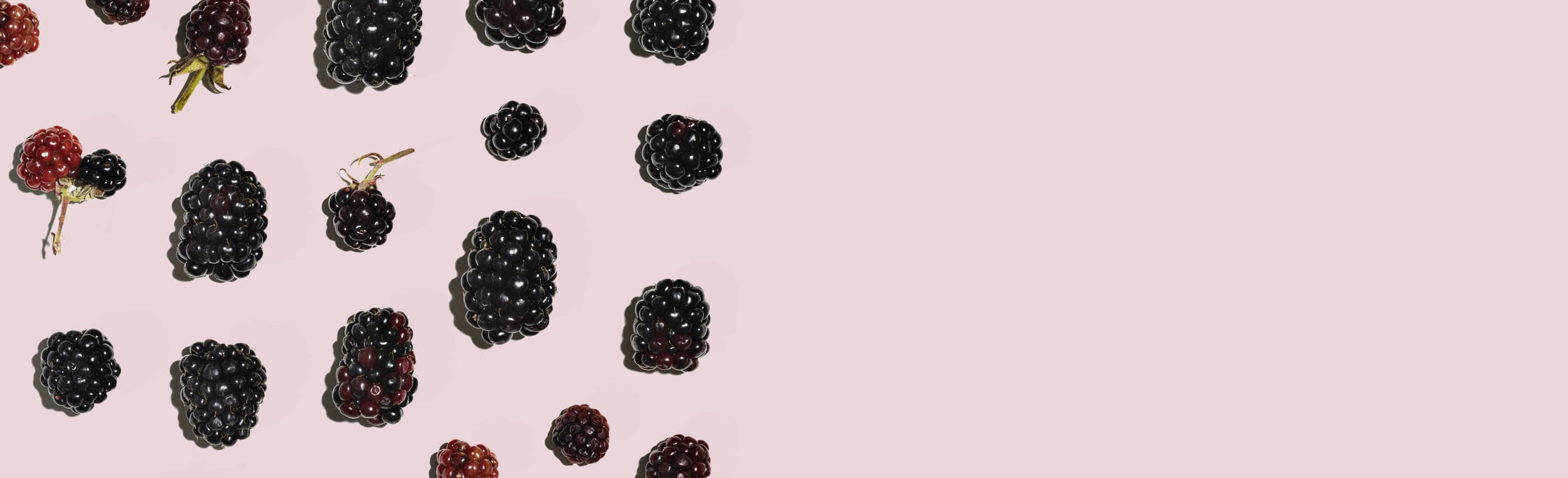 berries grid against a pink background