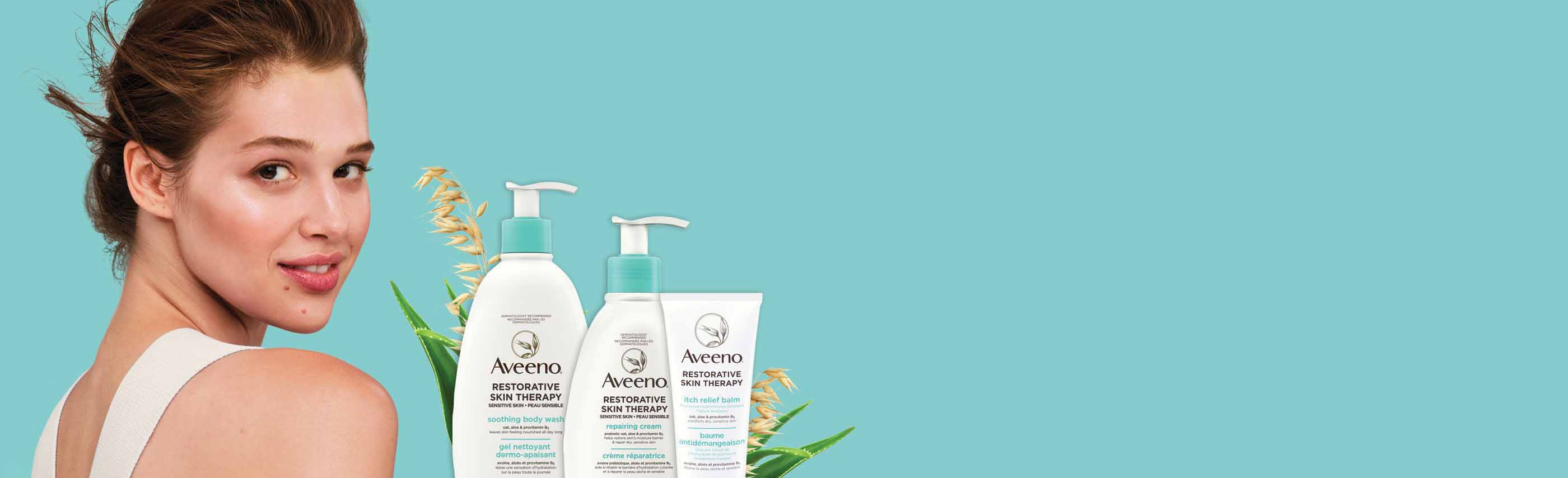 New AVEENO® Restorative Skin Therapy Collection of Products Banner