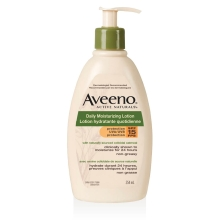 Flacon-pompe de la lotion hydratante quotidienne FPS 15 Aveeno
