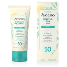 aveeno sensitive skin spf 50 face sunscreen tube and box