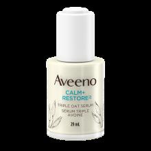 Flacon du sérum triple avoine pour peau sensible AVEENO® Calm+Restore MC, 29 ml