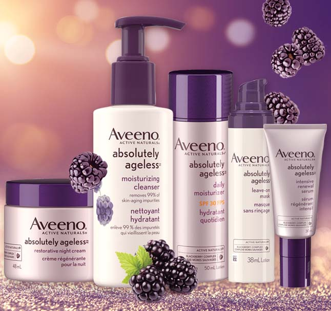 aveeno absolutely ageless products line up