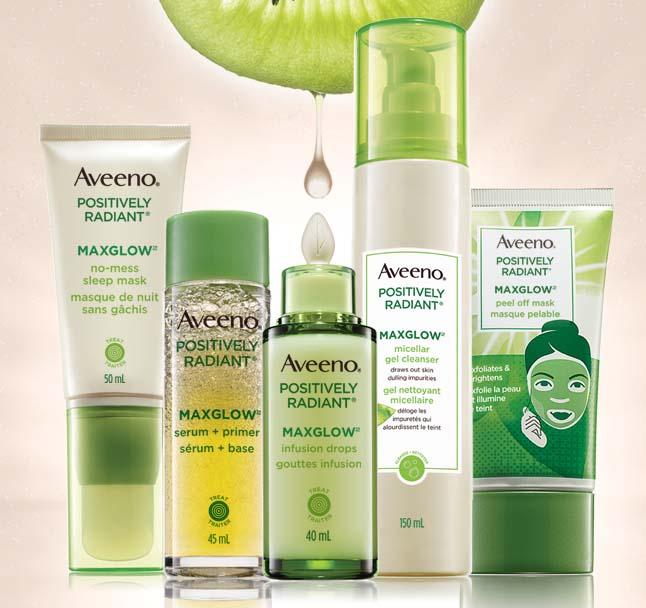 aveeno maxglow products line up
