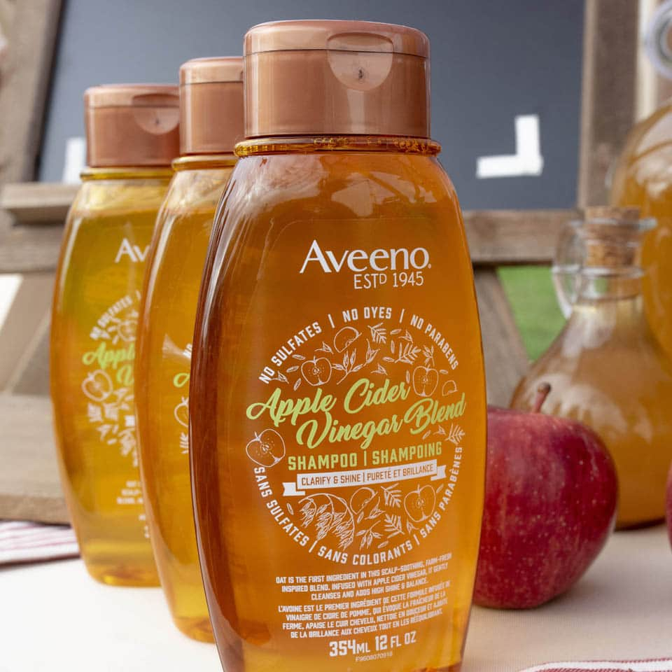 aveeno apple cider vinegar hair products line up