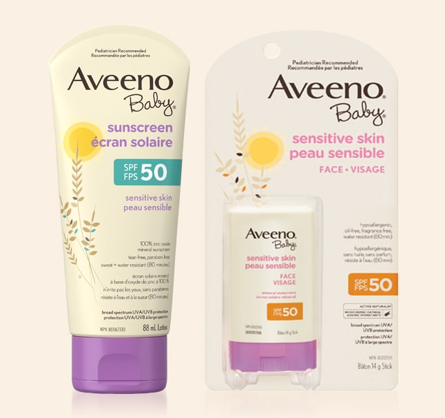 aveeno baby sunsceren tube and package