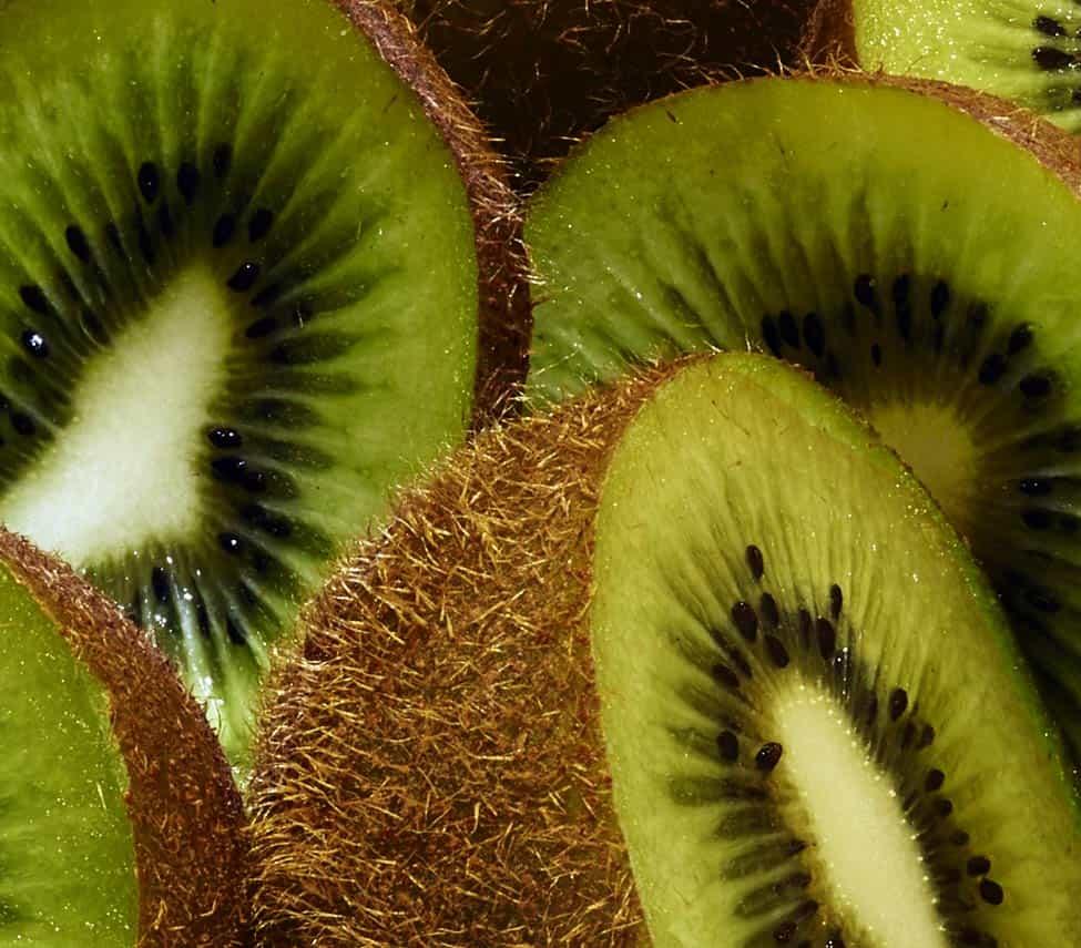 close up of half kiwi fruit