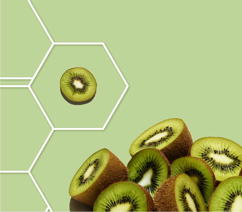 kiwi slice in a molecule grid against a green background