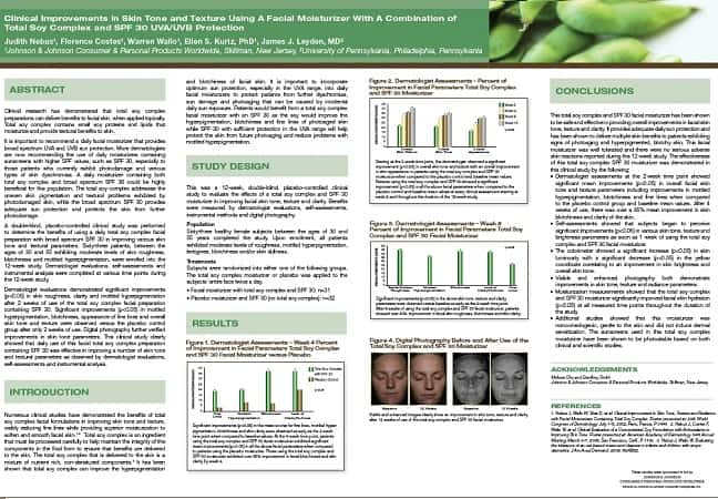 Clinical Improvements in Skin Tone and Texture Using A Facial Moisturizer With A Combination of Total Soy Complex