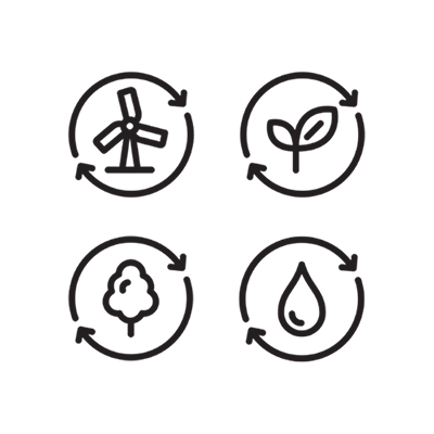 Reusable energy, sustainable ingredients, water quality icons